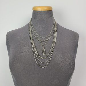 Vintage Dorlan Silver Layered Chain Necklace
